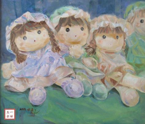 """淡淡的温柔粉色系, 并用""""水彩般的绘画感觉""""表现出很可爱的布娃娃!"""